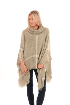 Light Grey Poncho | Jayley Roll Neck Knit Poncho