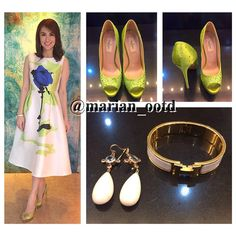 """""""#MARS taping #OOTD: @therealmarian in a beautiful @dior dress with @maisonvalentino green glittered peep-toe pumps, @hermes bracelet and teardrop earrings…"""""""