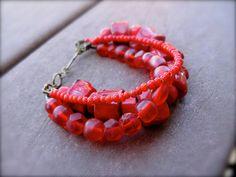 Multi Strand Organic Beaded Bracelet African Trade by KissOfVenus, $38.00