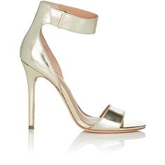 Halston Heritage Women's Marley Specchio Leather Sandals ($159) ❤ liked on Polyvore featuring shoes, sandals, gold, high heeled footwear, ankle strap shoes, leather shoes, ankle tie sandals and leather sandals