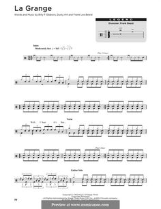 La Grange (ZZ Top) by B.F. Gibbons, D. Hill, F.L. Beard on MusicaNeo Zz Top, Billy F Gibbons, Frank Lee, Electric Guitar Lessons, Guitar Tabs, Sheet Music, Board, Barn, Music Sheets