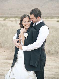 bride in grooms jacket