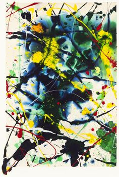 Sam Francis. Francis also incorporated the spirit and aesthetic of haboku, a Japanese style of drips and flung ink, in his paintings and prints. He employs a variety of marks, ranging from small drips dispersed across the surface, to broad horizontal and diagonal lines that appear to reference calligraphic forms.