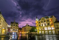 I've Spent 2 Years Photographing Thunderstorms In My Hometown Of Oradea, Romania Art Nouveau Architecture, Thunderstorms, Romania, Mansions, House Styles, City, Nature, Photography, Beautiful