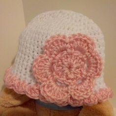 My #crocheted baby girl flowered hat