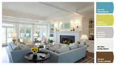 Fresh colors used in this family room, blues, whites and greens