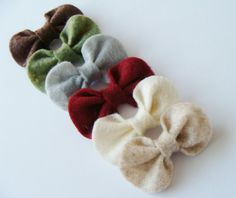 6 Felt Bow Hair Clips For Baby Girls, Toddlers, and Little Girls, Accessory, Children, Hair Clips, Hair Bows. $10.00, via Etsy.