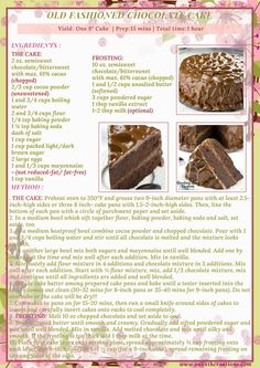 Homemade Desserts, Delicious Desserts, Yummy Food, Bakery Recipes, Dessert Recipes, Cooking Recipes, Old Fashioned Chocolate Cake, Chocolate Recipes, Delicious Chocolate