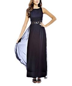 Another great find on #zulily! Black Embellished Waist Chiffon Maxi Dress by AX Paris #zulilyfinds