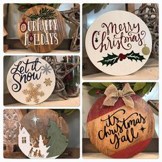Holiday signs are now available for purchase! Time for a free giveaway. Please like and share the post for a drawing to win one of these… Elegant Christmas Centerpieces, Homemade Christmas Decorations, Holiday Crafts, Christmas Signs Wood, Holiday Signs, Christmas Door Hangers, Christmas Projects, Christmas Crafts, Christmas Ornaments