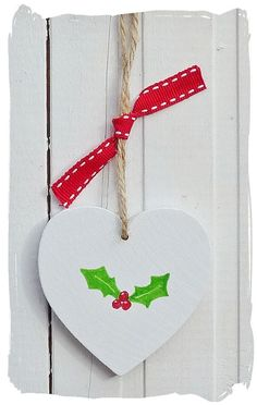 Wooden Heart Christmas Holly Tree Decoration by bynicki on Etsy