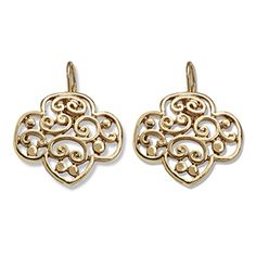 TREFOIL FILIGREE GOLDTONE EARRINGS- $10.00.