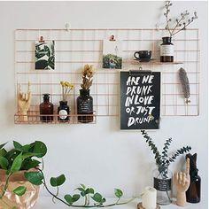 Eisen Gitter der Foto Wand DIY Fotowand Wand Dekoration Gridpanel Wand Organizer DIY Multifunktions Grid Deko 35 x 35 cm Schwarz H/ängen in der Familie B/üro K/üche