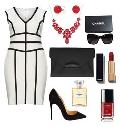 """Woman in Black"" by sndrcandelario on Polyvore featuring Gina Bacconi, Christian Louboutin, Givenchy, Bling Jewelry, Chanel, women's clothing, women's fashion, women, female and woman"