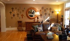 crosses on the wall in dining room with mirror - Google Search