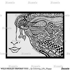 WILD PAISLEY FANTASY YOU COLOR IT POSTER 16x20