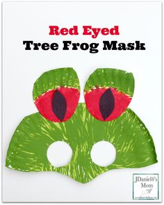 This fun red eyed tree frog mask would be fun to make during a study of the rainforest. Kids could wear it while reading rain forest themed books. Frog Crafts Preschool, Rainforest Preschool, Rainforest Crafts, Frog Activities, Rainforest Animals, Rainforest Theme, Animal Activities, Preschool Ideas, Learning Activities