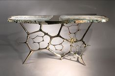Rare sculptural console table - handmade bronze sculptural t Console Furniture, Art Deco Furniture, Furniture Design, Gold Furniture, Extravagant Homes, Consoles, Contemporary Home Furniture, Modern Console Tables, Interior Design Inspiration