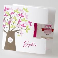 Drieluikje met vrolijke uiltjes en boom in roze tinten (584.059)