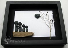Unique Family Gift - Pebble Art Family Gift - Customized Family Art Work - West Coast Stone Art - Family of Four - Love Gifts - Handmade Art by SticksnStone on Etsy