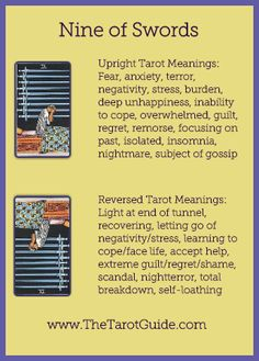 Nine of Swords Tarot Flashcard showing the best keyword meanings for the upright & reversed card, free online Minor Arcana flashcards, made by professional psychic Tarot reader, The Tarot Guide, the easy way to learn how to accurately read Tarot. Tarot Cards For Beginners, Tarot Card Spreads, Online Tarot, Tarot Astrology, Tarot Card Meanings, Tarot Readers, Card Reading, Tarot Decks, Learn To Read
