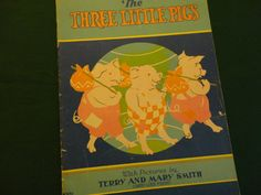 "Vintage Children's Book 1930s ""The Three Little Pigs"" - ""Whitman Pub. Co. USA"" adorable large colorful pictures, lg. print, 14 pages, 9""x12"""