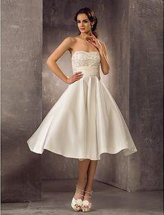 Specials A-line Strapless Tea-length Lace Satin Lace Wedding Dress Free Measurement