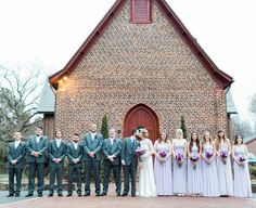 Love this photo of the wedding party outside of the church after to the Fox/Blackwelder Wedding! Photo Credit: Emma Loo Photography
