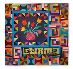 Gratitude by NiftyQuilts. vase of flowers created in a workshop with Gwen Marston. UnRuly Letters. lots of talent!