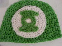 Green Lantern Superhero Logo Beanie Hat Crochet Pattern Closeup *FREE Pattern*