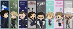 Chibi BBC Sherlock bookmarks by AznCeestar on DeviantArt Sherlock Fandom, Sherlock Bbc, Benedict Cumberbatch Sherlock, Jim Moriarty, John Holmes, Mycroft Holmes, Sherlock Wallpaper, Rupert Graves, Benedict And Martin