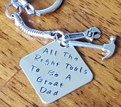 Mr Fix It Keychain Truck Gift For Dad Father Boyfriend Hand Stamped Personalized Mechanic Contractor Carpenter