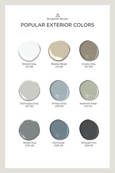 Choosing the best paint color for the exterior surfaces of your home means picking colors that look great–and last. Here are some of the most popular Benjamin Moore colors for exterior. Benjamin Moore Exterior Paint, Exterior Gray Paint, Benjamin Moore Colors, Exterior Paint Colors For House, Paint Colors For Living Room, Paint Colors For Home, Exterior Colors, Calming Paint Colors, Best Paint Colors