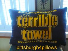 1 - Newly Listed - Black - Pittsburgh Steelers- Terrible Towel Pillow - Black Fleece Backing - Approx. 21 x 14 After Sewing by pittsburgh4pillows on Etsy