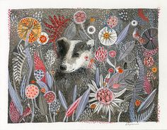 Badger's Dream Print of original watercolor von amberalexander, $35.00