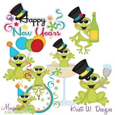 New Year Frogs SVG Cutting Files Includes Clipart