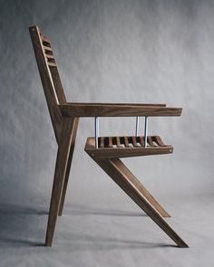 Two wooden parts are connected with small solid aluminium tendons to component this piece of art. Wooden chair Bivalvia design by Jan Barič. Unique Furniture, Industrial Furniture, Wood Furniture, Furniture Design, Industrial Closet, Industrial Cafe, Industrial Bookshelf, Industrial Apartment, Industrial Living