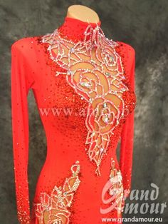 red silver floral crystal bodice design