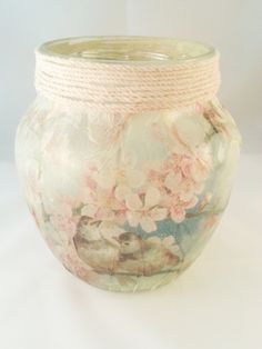 Handmade decorations - Shabby Recycled Jar