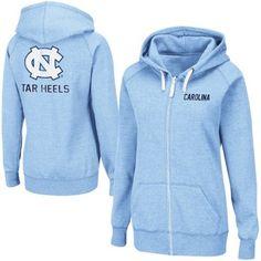 North Carolina Tar Heels (UNC) Ladies Throwback Full Zip Hoodie - Carolina Blue