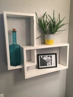 This intersecting cube shelf is perfect for storing everyday uses in the bathroom or for any room decor. Can be hung in a variety of ways. Pictured in painted pure white. Stain and paint options available. Cube Shelves, Floating Wall Shelves, Room Shelves, Home Decor Furniture, Cool Furniture, Diy Home Decor, Wall Shelf Decor, Wall Shelves Design, Simple Living Room Decor