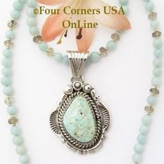 Dry Creek Turquoise Pendant by Navajo Harry Spencer with 19 Inch Amazonite Bead…
