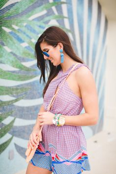 minkpink romper, keyhole romper, keyhole dress, beach style, vacation style, vacation outfit ideas,  rose gold wedges, rose gold heels, rose gold sandals, nude sandals, turquoise tassel earrings, tassel bracelets, gigi new york melon carly convertible clutch, loews miami beach hotel // grace wainwright from a southern drawl