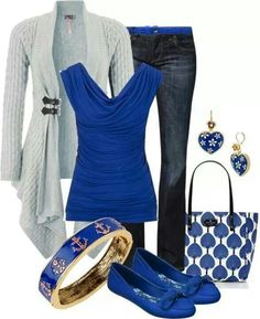 This blue is great and exciting. I have an outfit similar to this in my closet. This is cute yet comfy