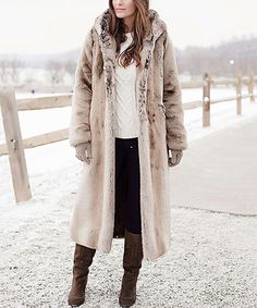 Look at this #zulilyfind! Timber Wolf Faux Fur Full-Length Hooded Coat - Plus Too #zulilyfinds