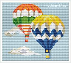 Cross Stitch Pattern-Balloons hot Air Colorful от HallStitch