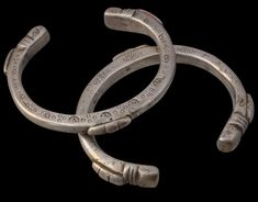 Africa | Pair of Heavy, Solid Cast Bracelets | Tuareg People, Niger | ca.  19th century | Silver | Heavy silver bracelets such as these would have formed part of a woman's dowry.