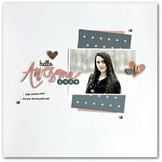 Hello Awesome Snow - Scrapbook.com - A 12 x 12 white background with just a few bits of paper and embellishments is perfect for a snowy photo!