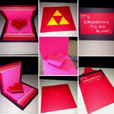 Legend of Zelda inspired Valentine's Day card thanks to the pixelated Popup Card template from the instructables.com website.