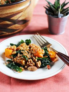 Warm Rye Berry, Roasted Pumpkin & Kale Salad with Miso-Maple Dressing